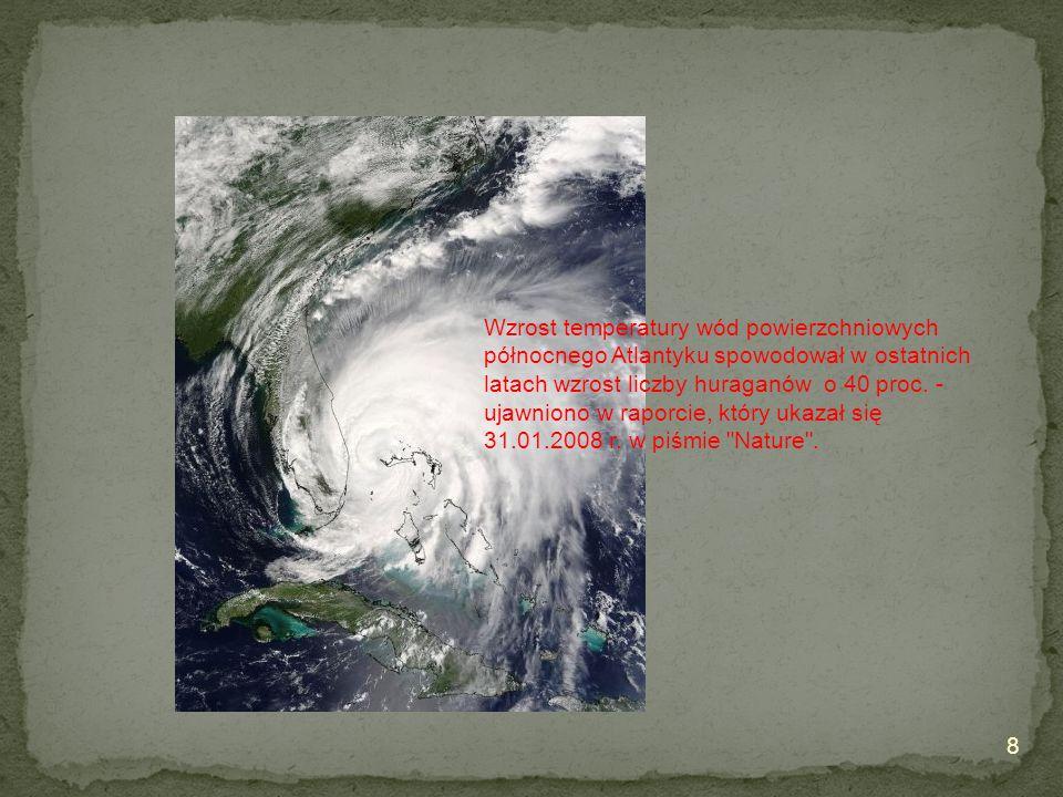 Wzrost temperatury wód powierzchniowych północnego Atlantyku spowodował w ostatnich latach wzrost liczby huraganów o 40 proc.