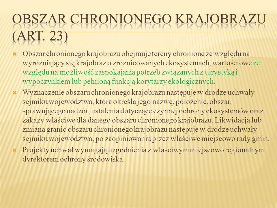 Obszar chronionego krajobrazu (art. 23)