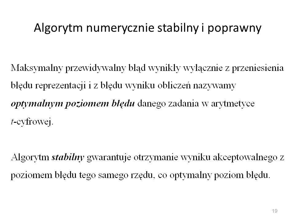 Algorytm numerycznie stabilny i poprawny
