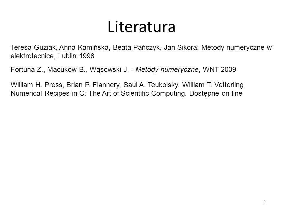 Literatura Teresa Guziak, Anna Kamińska, Beata Pańczyk, Jan Sikora: Metody numeryczne w elektrotecnice, Lublin 1998.