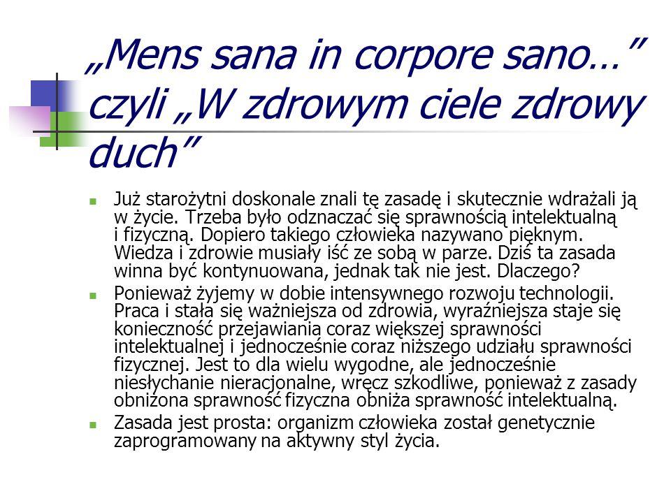 """""""Mens sana in corpore sano… czyli """"W zdrowym ciele zdrowy duch"""