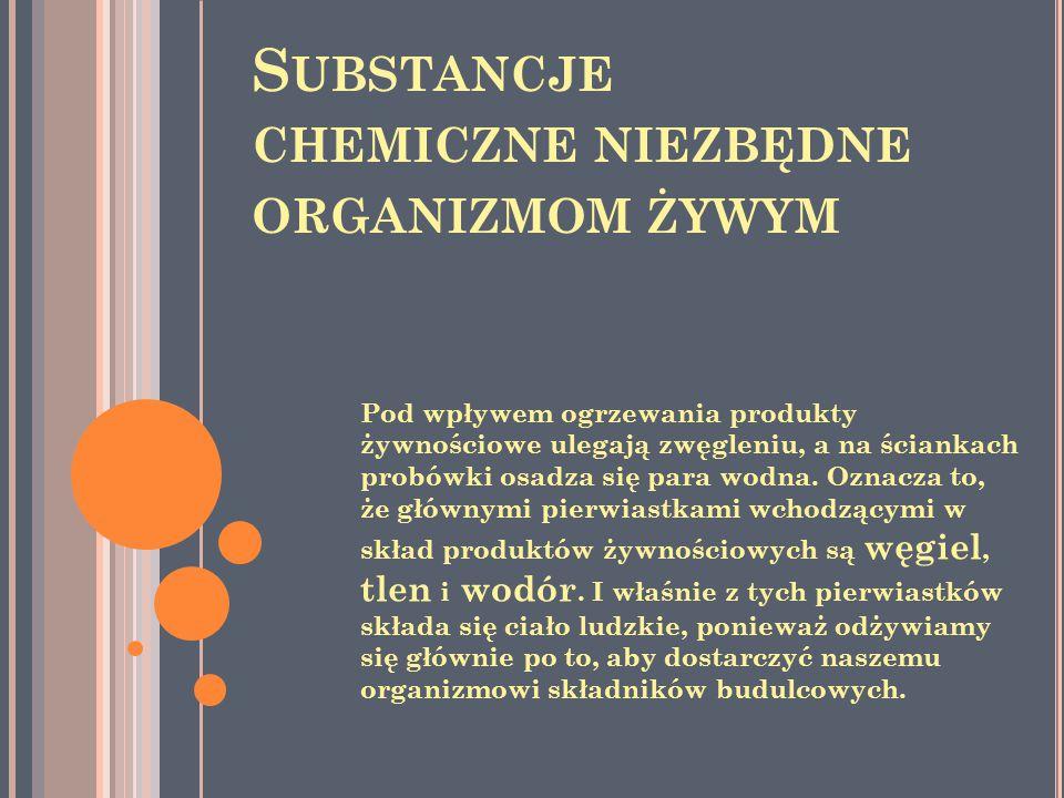 Substancje chemiczne niezbędne organizmom żywym