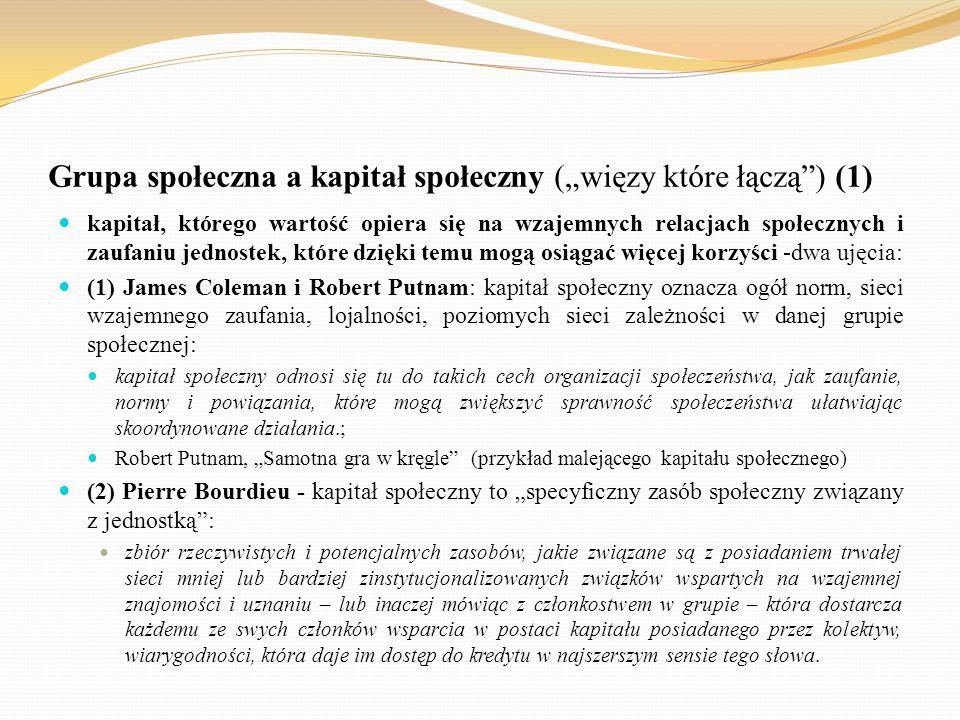 """Grupa społeczna a kapitał społeczny (""""więzy które łączą ) (1)"""