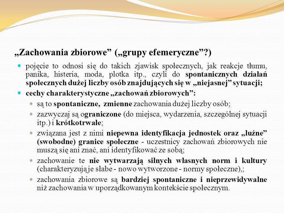 """""""Zachowania zbiorowe (""""grupy efemeryczne )"""