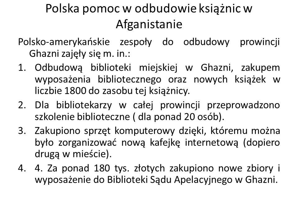 Polska pomoc w odbudowie książnic w Afganistanie