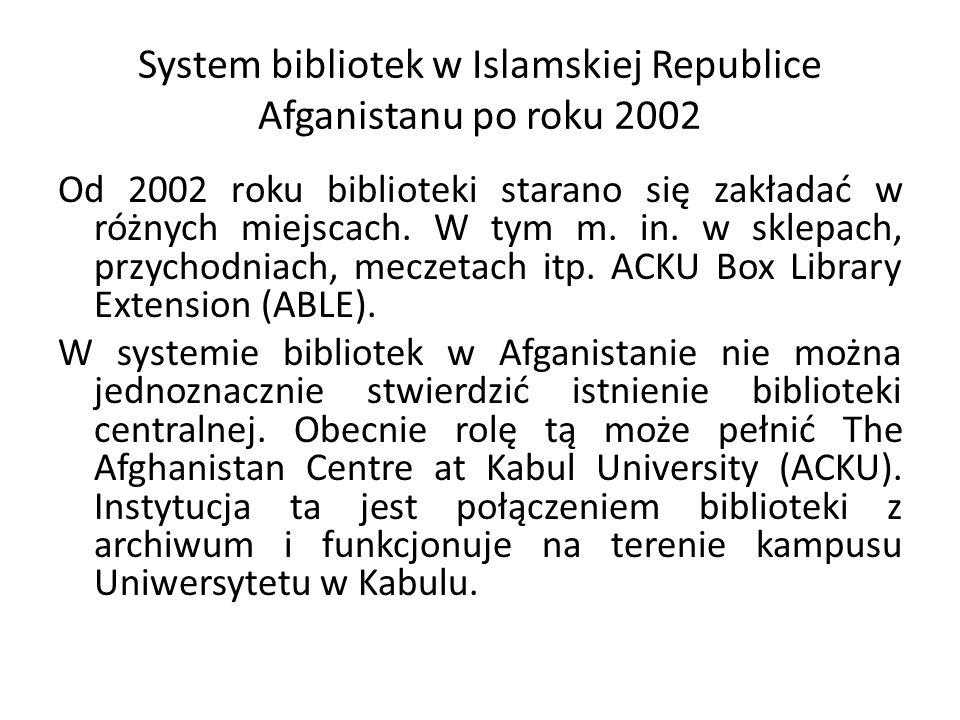 System bibliotek w Islamskiej Republice Afganistanu po roku 2002