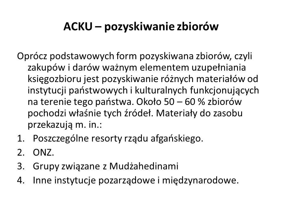 ACKU – pozyskiwanie zbiorów