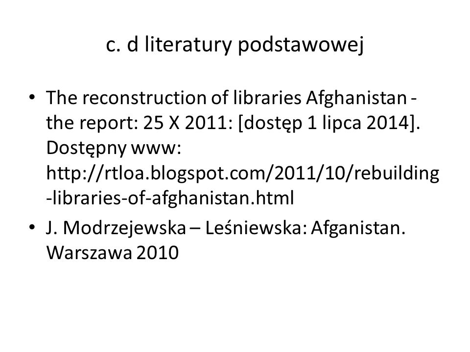 c. d literatury podstawowej