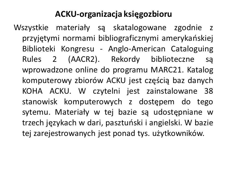 ACKU-organizacja księgozbioru