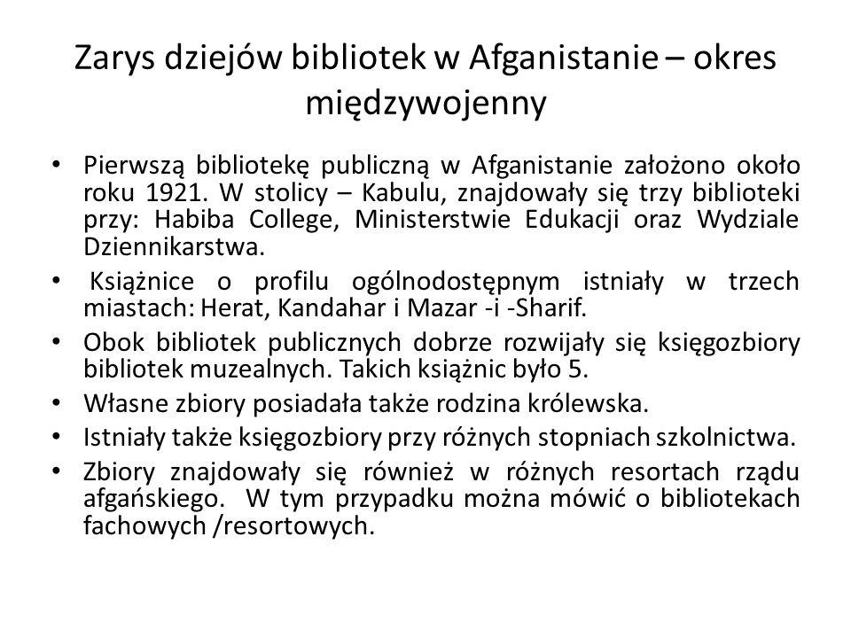 Zarys dziejów bibliotek w Afganistanie – okres międzywojenny