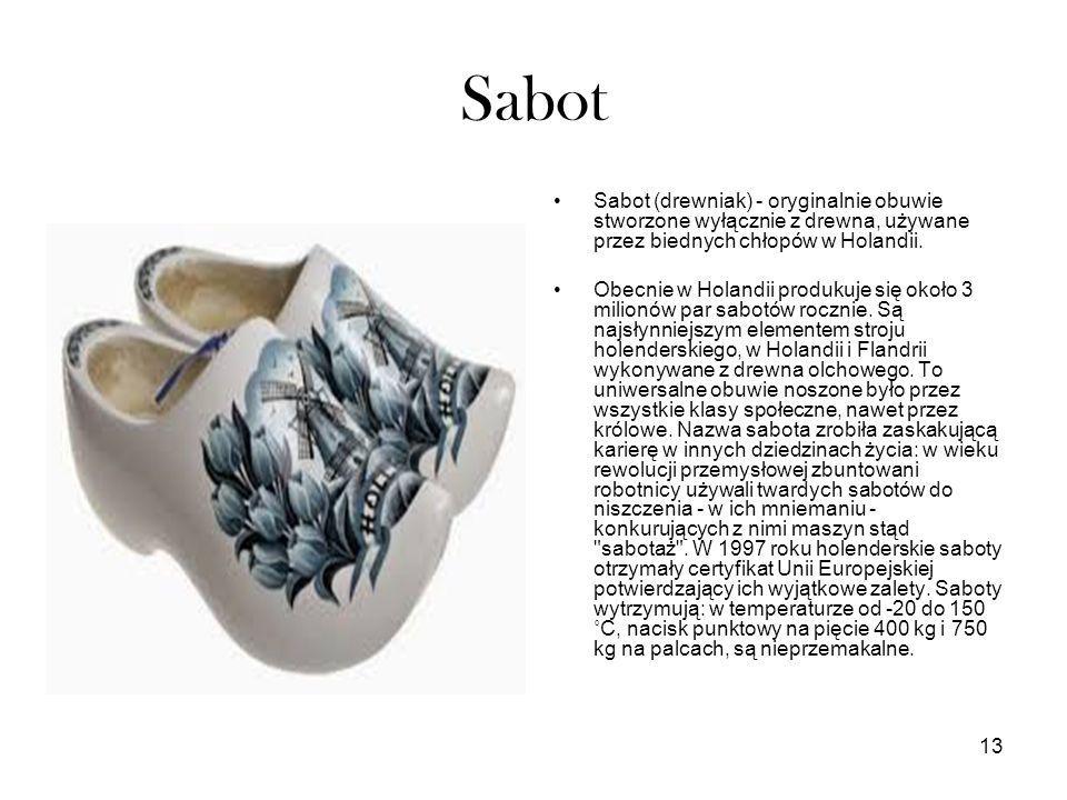 Sabot Sabot (drewniak) - oryginalnie obuwie stworzone wyłącznie z drewna, używane przez biednych chłopów w Holandii.