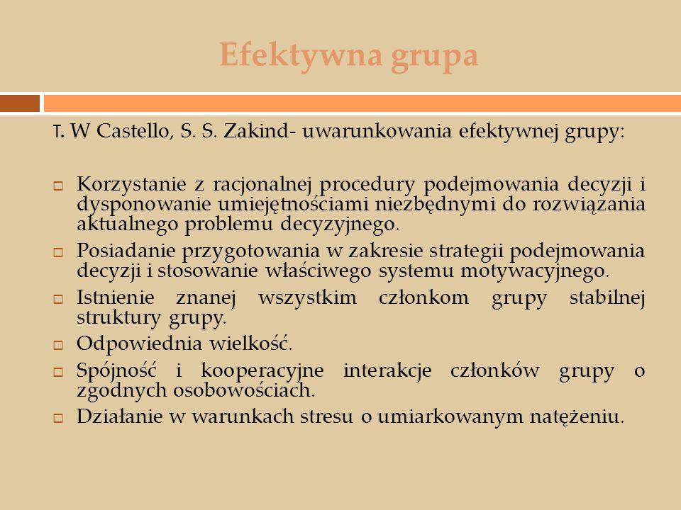 Efektywna grupa T. W Castello, S. S. Zakind- uwarunkowania efektywnej grupy: