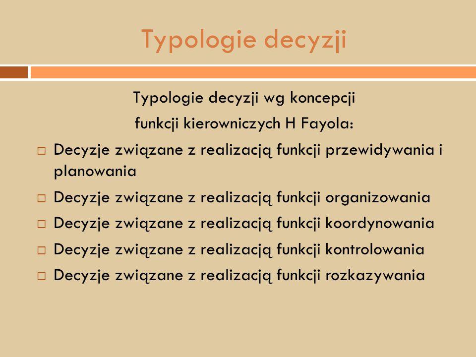Typologie decyzji Typologie decyzji wg koncepcji
