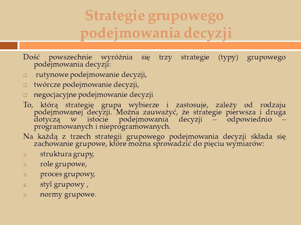 Strategie grupowego podejmowania decyzji