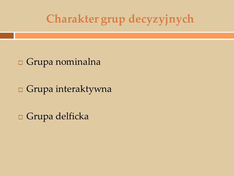 Charakter grup decyzyjnych