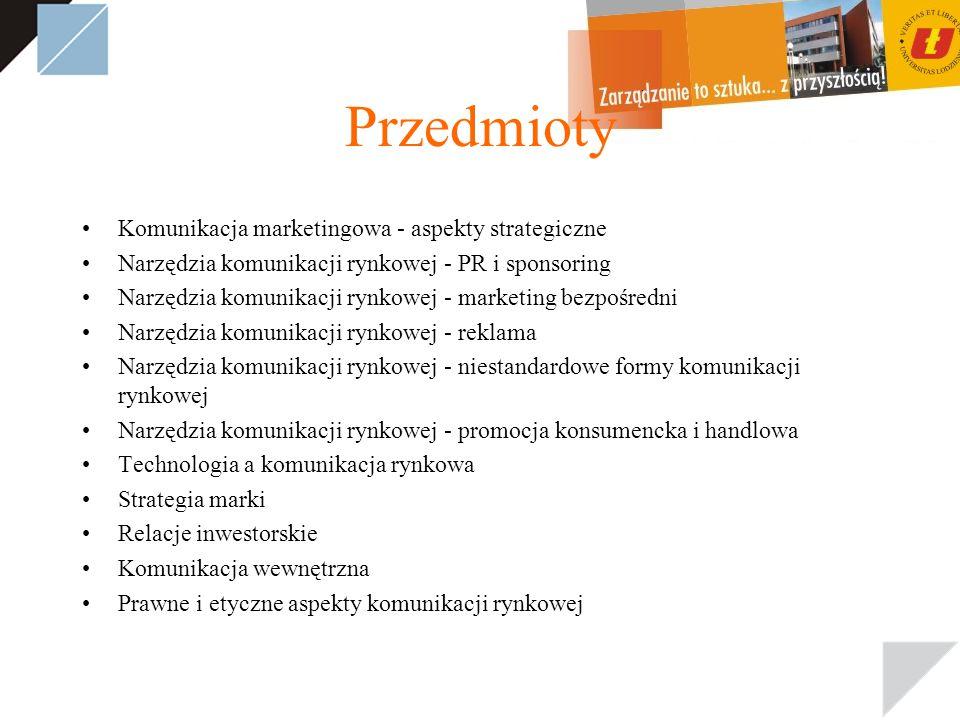 Przedmioty Komunikacja marketingowa - aspekty strategiczne