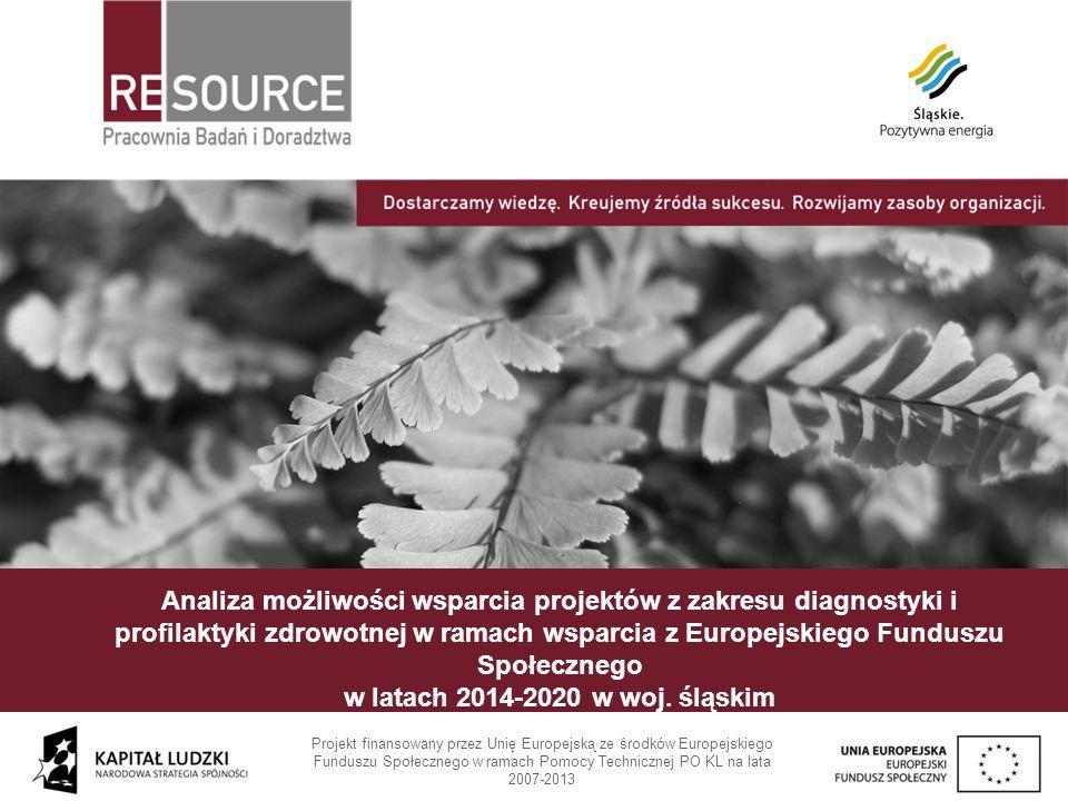 Analiza możliwości wsparcia projektów z zakresu diagnostyki i profilaktyki zdrowotnej w ramach wsparcia z Europejskiego Funduszu Społecznego w latach 2014-2020 w woj. śląskim