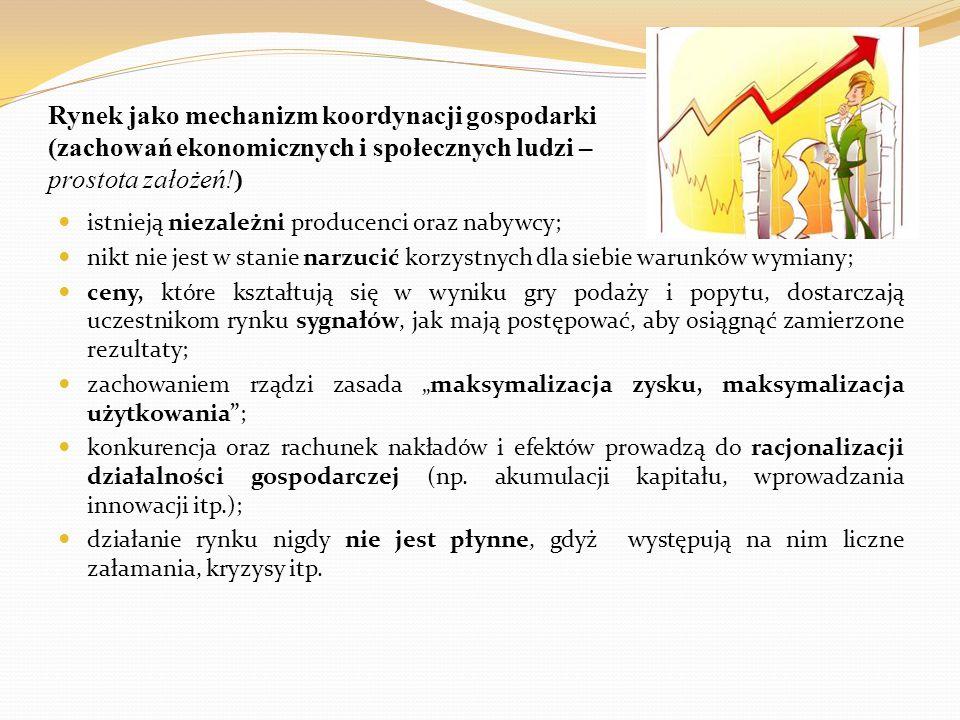 Rynek jako mechanizm koordynacji gospodarki (zachowań ekonomicznych i społecznych ludzi – prostota założeń!)