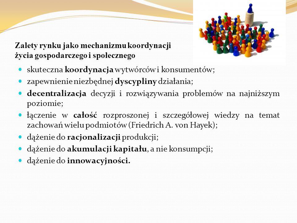 skuteczna koordynacja wytwórców i konsumentów;