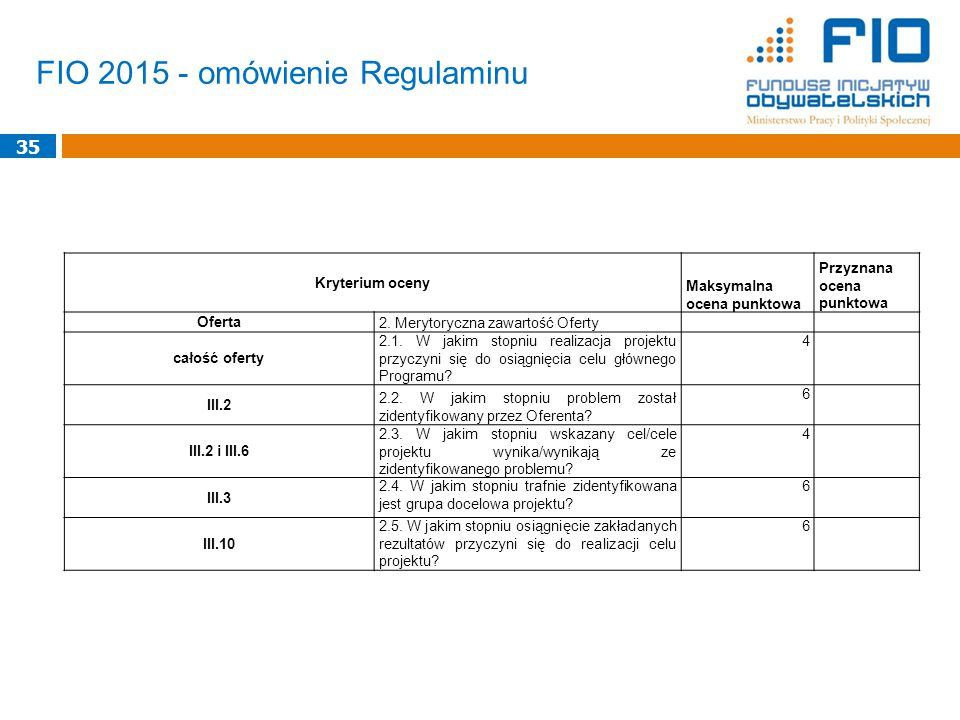 FIO 2015 - omówienie Regulaminu