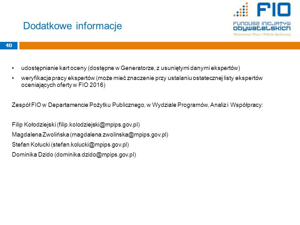 Dodatkowe informacje 40. udostępnianie kart oceny (dostępne w Generatorze, z usuniętymi danymi ekspertów)