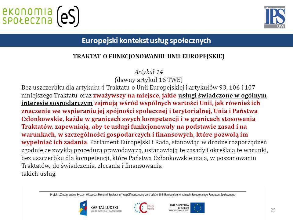 Europejski kontekst usług społecznych