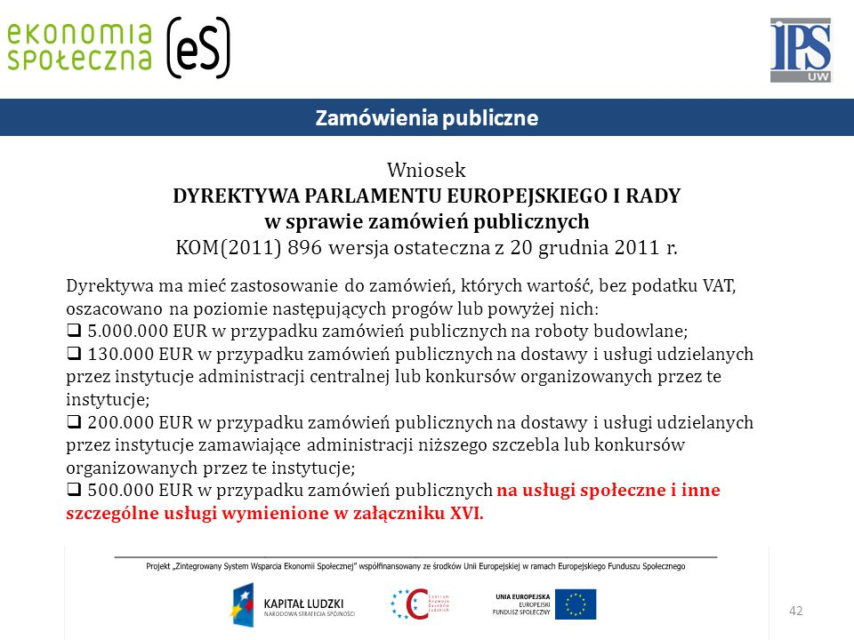 Zamówienia publiczne Wniosek DYREKTYWA PARLAMENTU EUROPEJSKIEGO I RADY