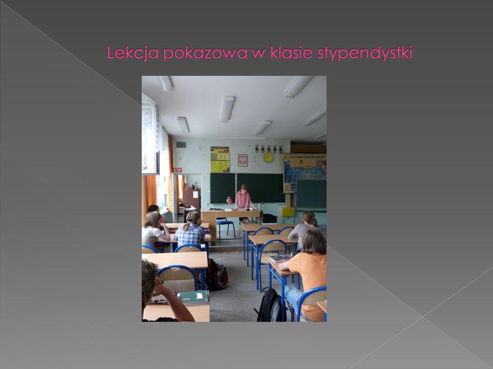 Lekcja pokazowa w klasie stypendystki