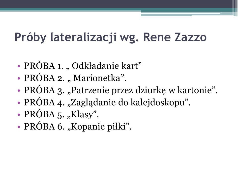 Próby lateralizacji wg. Rene Zazzo