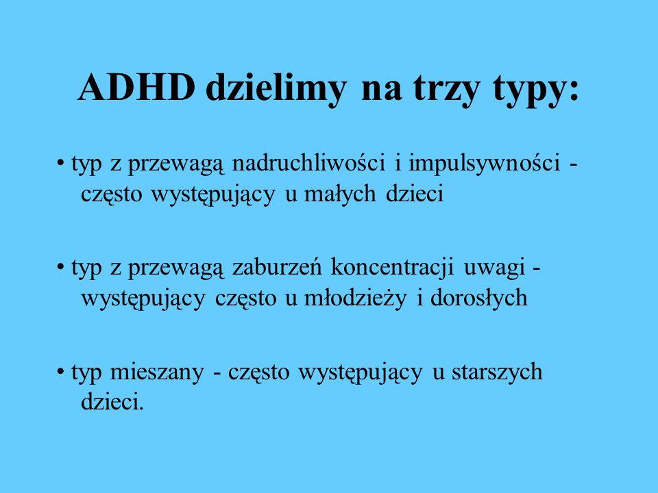 ADHD dzielimy na trzy typy: