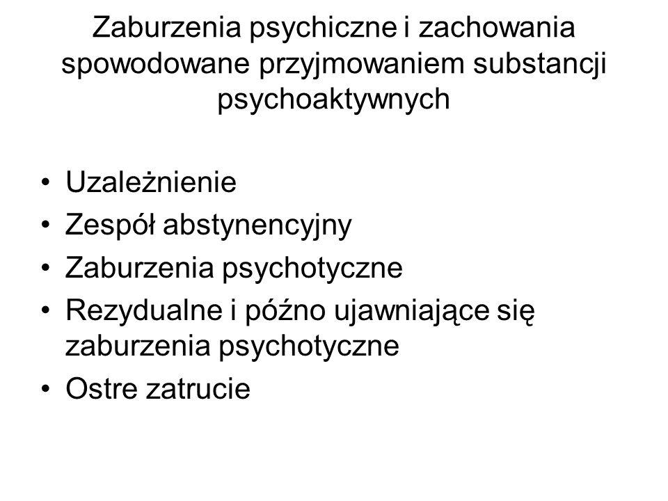Zaburzenia psychiczne i zachowania spowodowane przyjmowaniem substancji psychoaktywnych