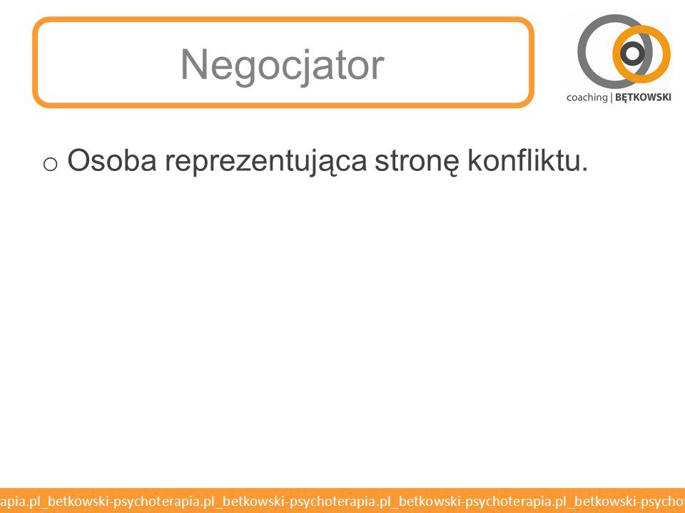 Negocjator Osoba reprezentująca stronę konfliktu.