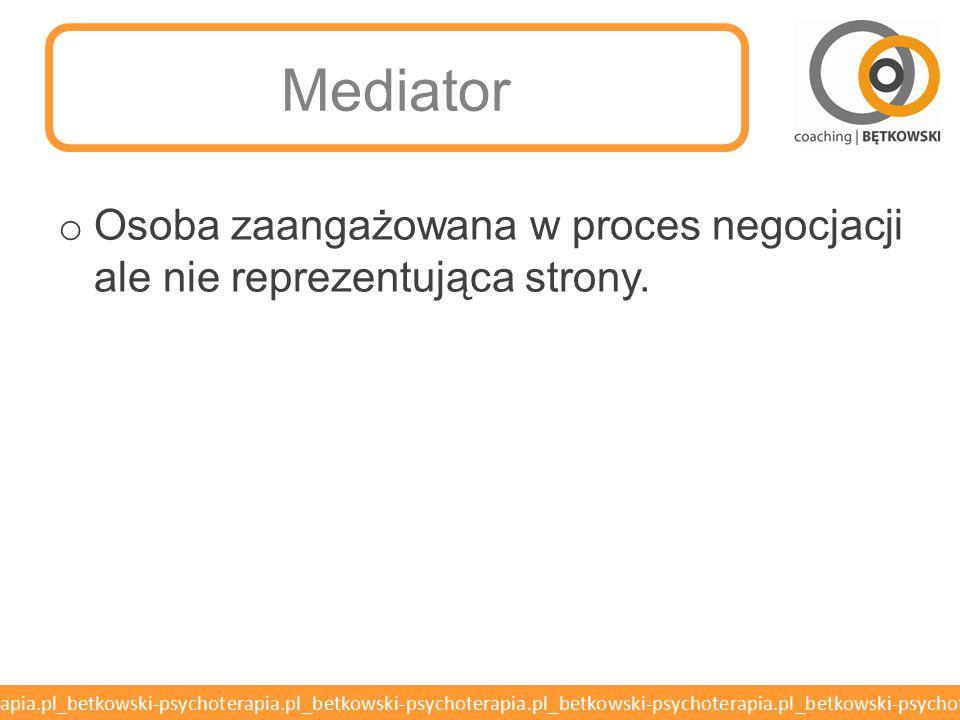 Mediator Osoba zaangażowana w proces negocjacji ale nie reprezentująca strony.