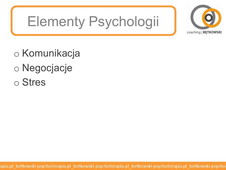 Elementy Psychologii Komunikacja Negocjacje Stres