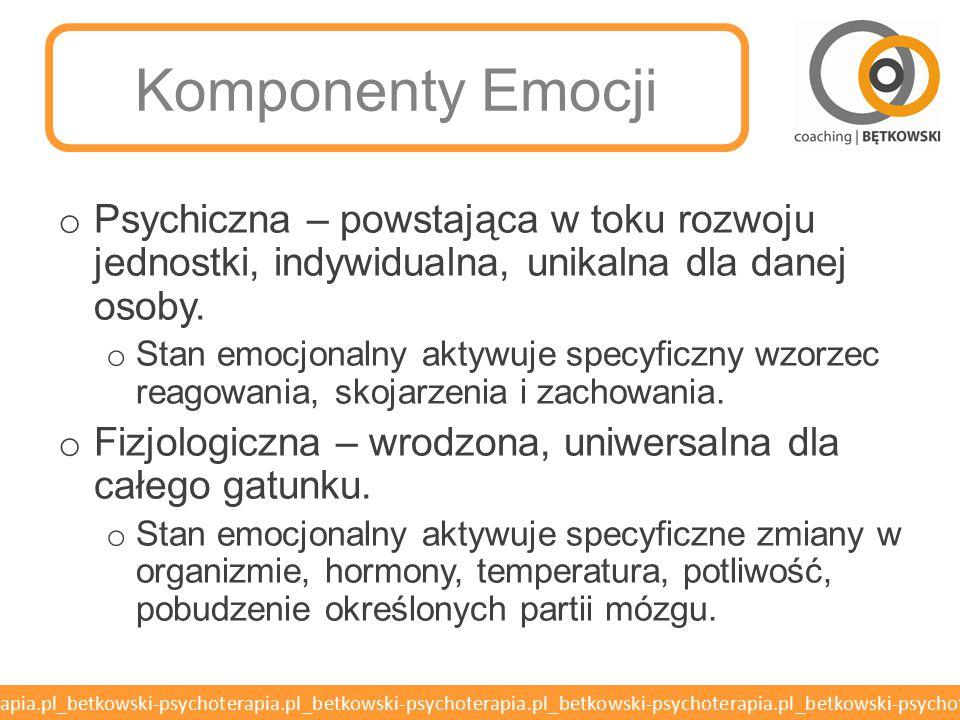 Komponenty Emocji Psychiczna – powstająca w toku rozwoju jednostki, indywidualna, unikalna dla danej osoby.