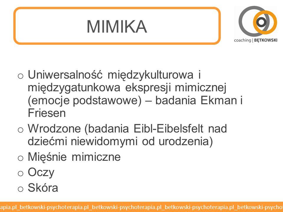 MIMIKA Uniwersalność międzykulturowa i międzygatunkowa ekspresji mimicznej (emocje podstawowe) – badania Ekman i Friesen.