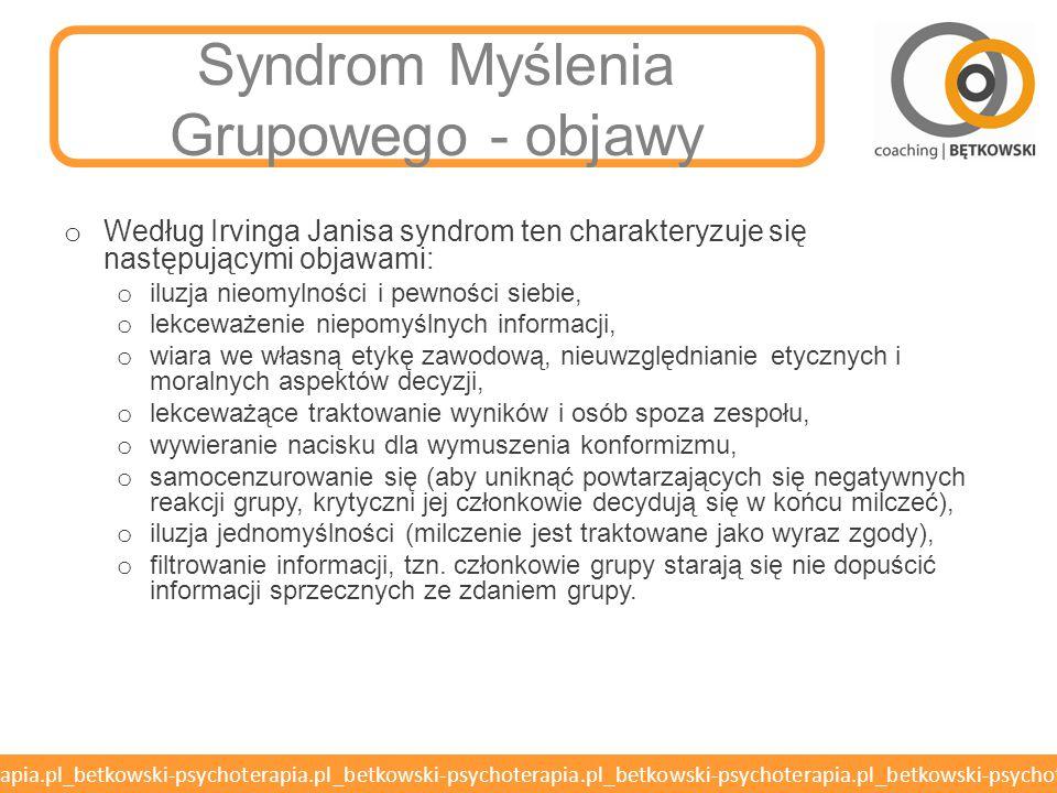 Syndrom Myślenia Grupowego - objawy