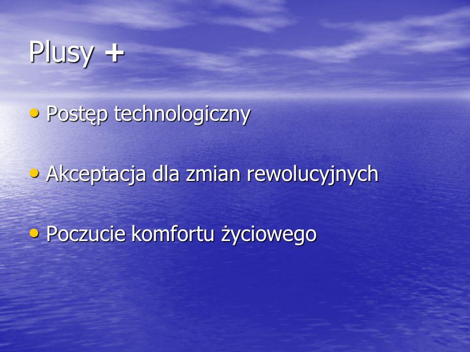 Plusy + Postęp technologiczny Akceptacja dla zmian rewolucyjnych