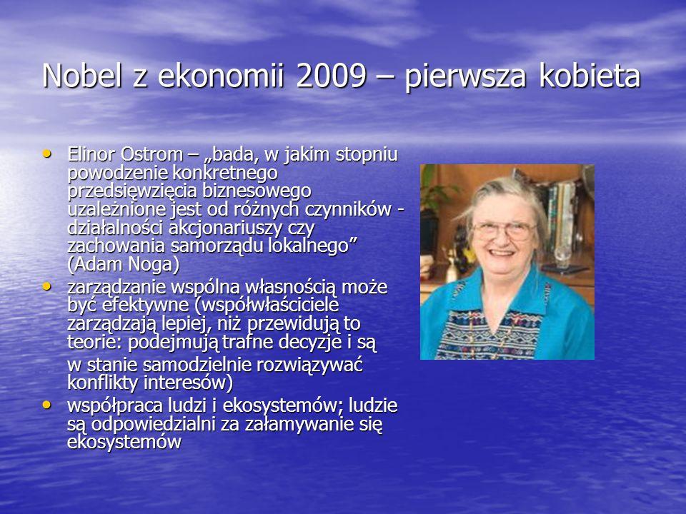 Nobel z ekonomii 2009 – pierwsza kobieta