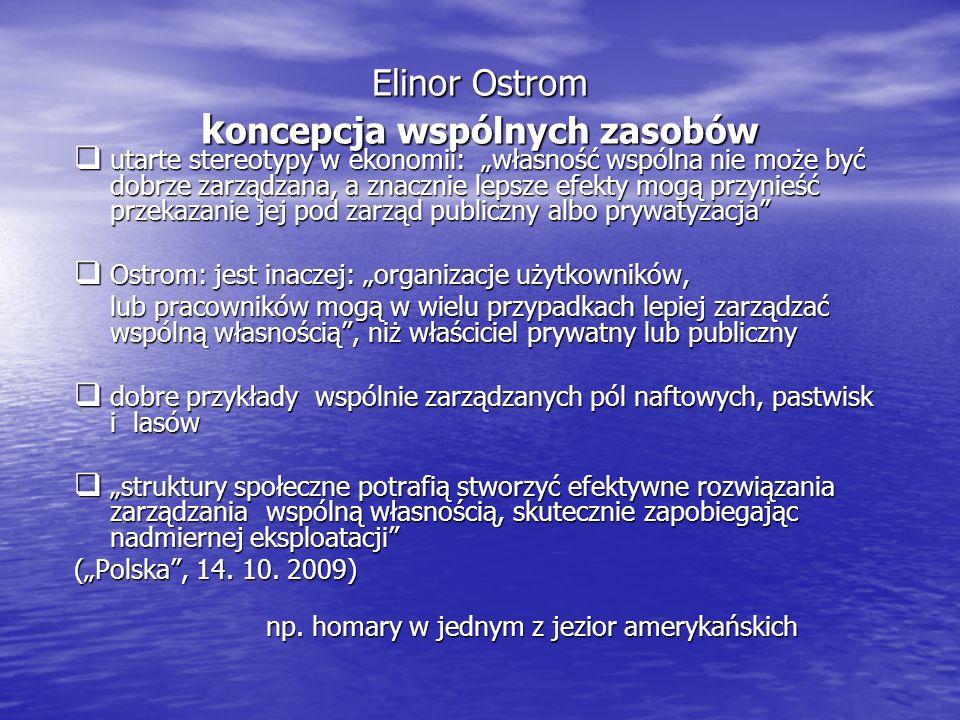 Elinor Ostrom koncepcja wspólnych zasobów