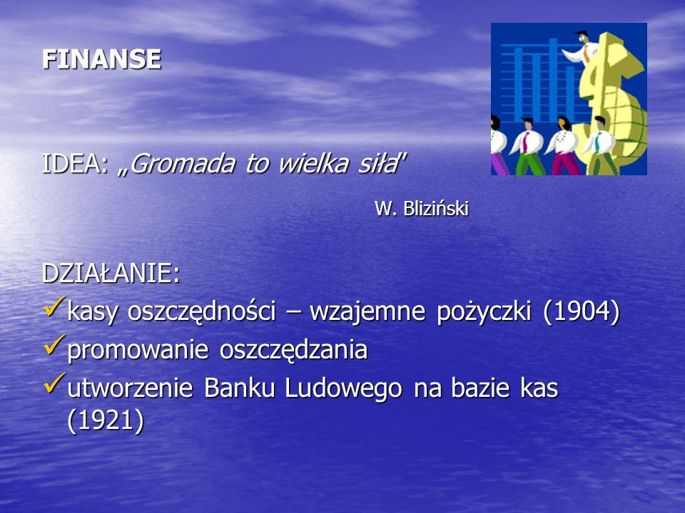 """W. Bliziński FINANSE IDEA: """"Gromada to wielka siła DZIAŁANIE:"""