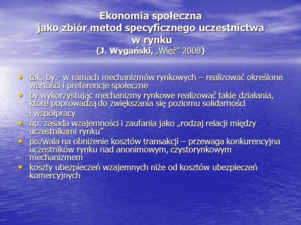 """Ekonomia społeczna jako zbiór metod specyficznego uczestnictwa w rynku (J. Wygański, """"Więź 2008)"""