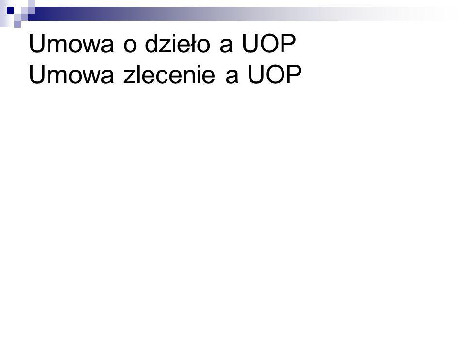 Umowa o dzieło a UOP Umowa zlecenie a UOP