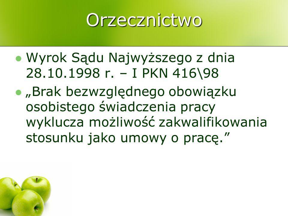 Orzecznictwo Wyrok Sądu Najwyższego z dnia 28.10.1998 r. – I PKN 416\98.