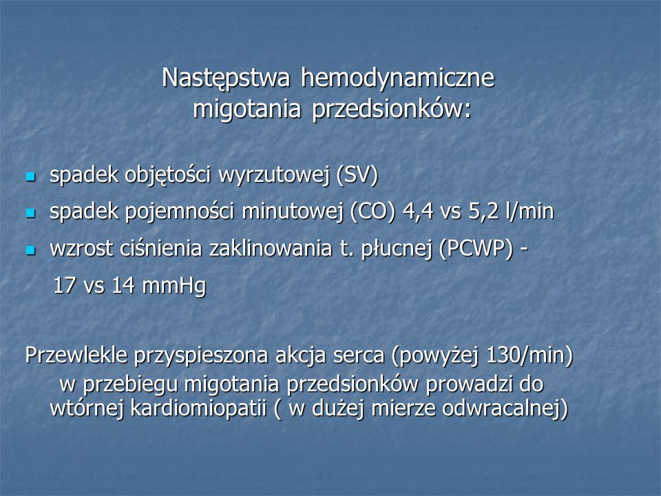 Następstwa hemodynamiczne migotania przedsionków: