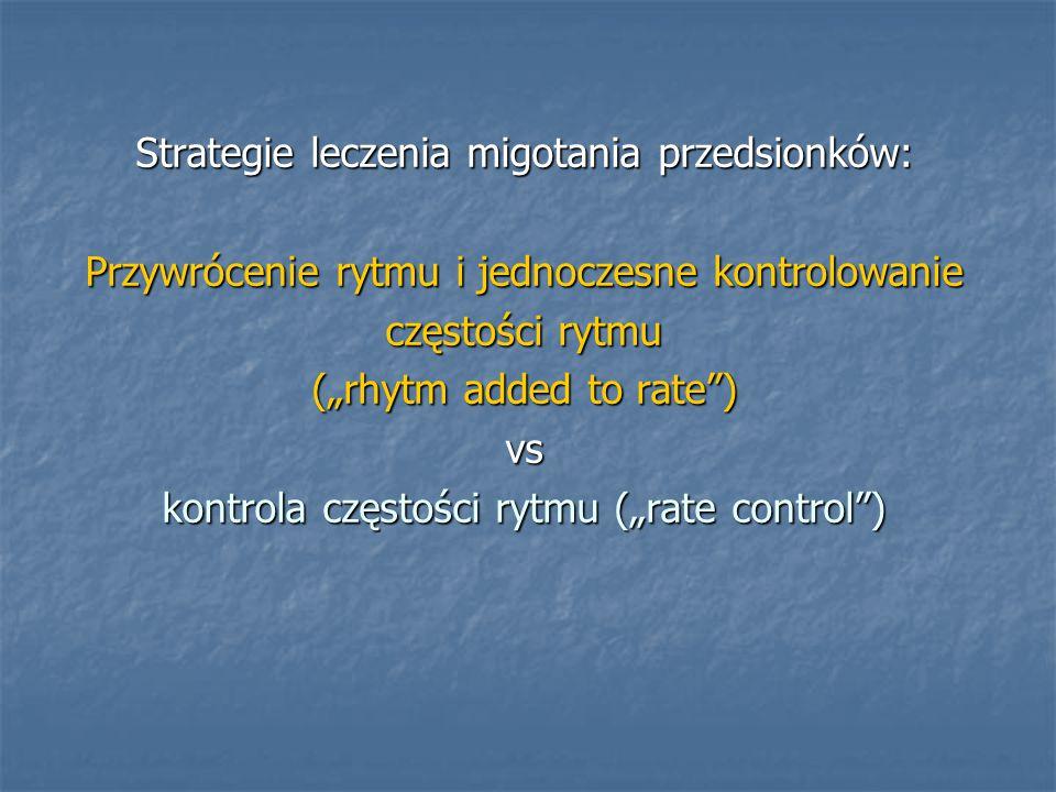 """Strategie leczenia migotania przedsionków: Przywrócenie rytmu i jednoczesne kontrolowanie częstości rytmu (""""rhytm added to rate ) vs kontrola częstości rytmu (""""rate control )"""