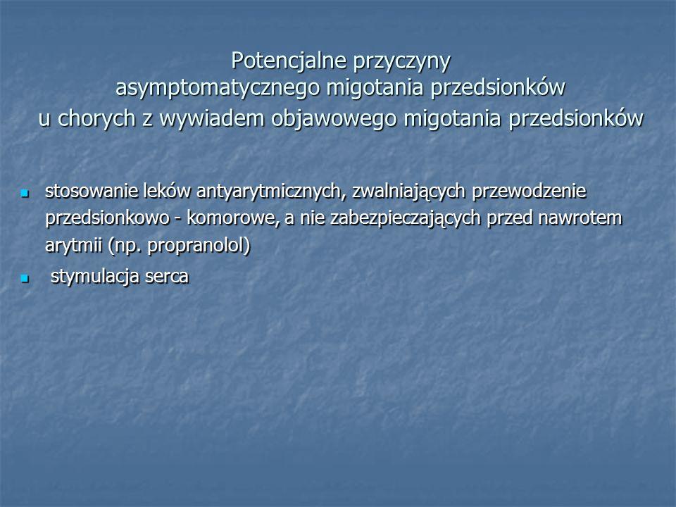 Potencjalne przyczyny asymptomatycznego migotania przedsionków u chorych z wywiadem objawowego migotania przedsionków
