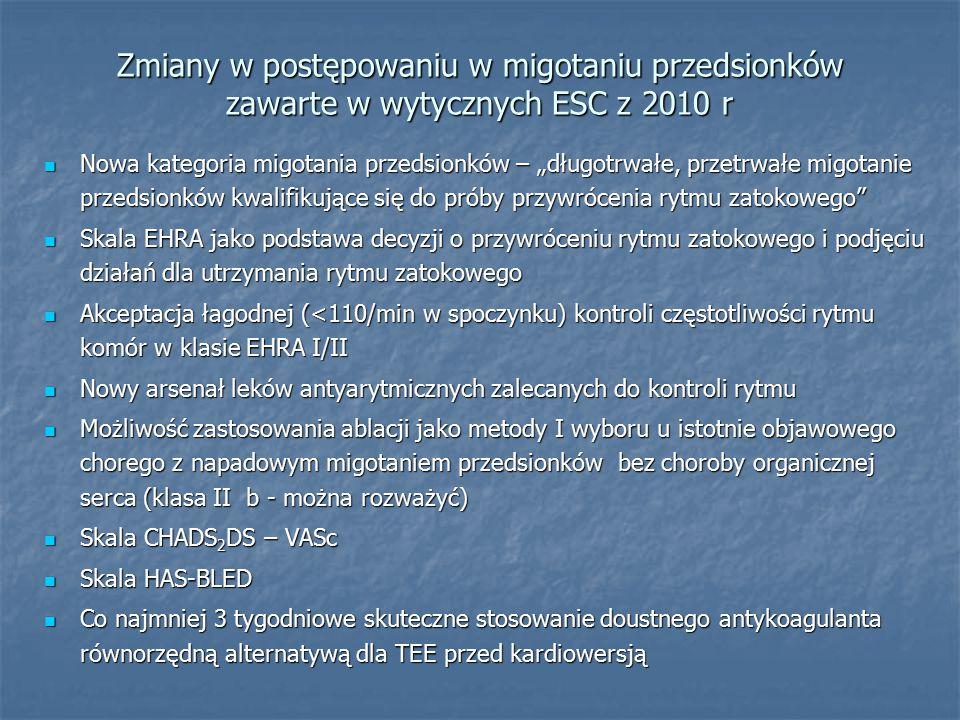 Zmiany w postępowaniu w migotaniu przedsionków zawarte w wytycznych ESC z 2010 r