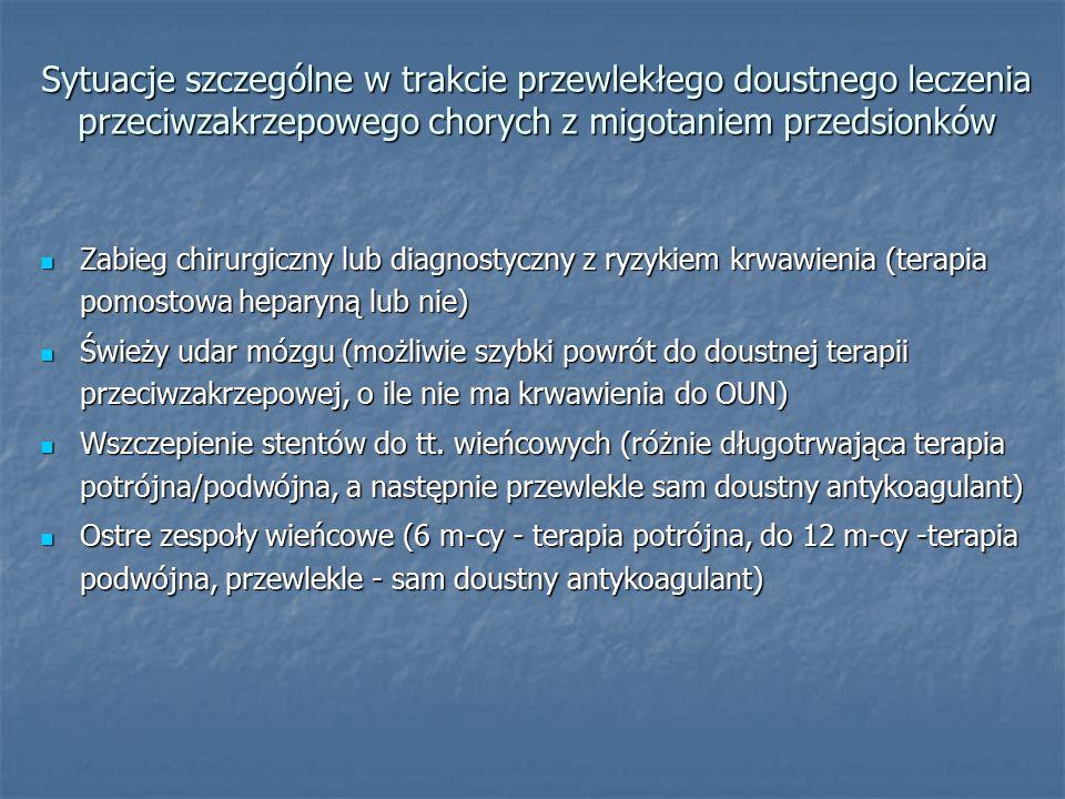 Sytuacje szczególne w trakcie przewlekłego doustnego leczenia przeciwzakrzepowego chorych z migotaniem przedsionków