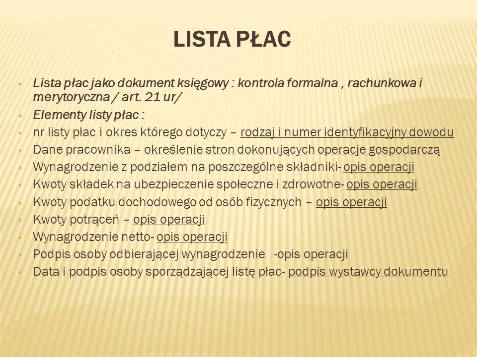 Lista płac Lista płac jako dokument księgowy : kontrola formalna , rachunkowa i merytoryczna / art. 21 ur/